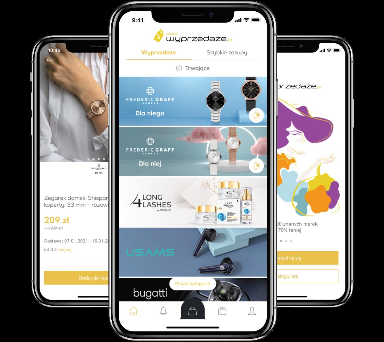 Zlote Wyprzedaze mCommerce Mobile App Design