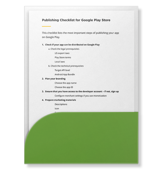 App Publishing Checklist for Google Play Example