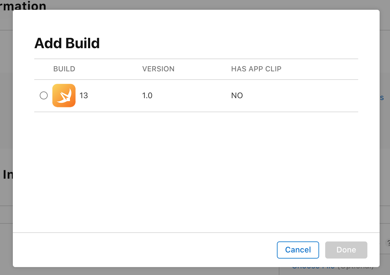 Publishing on the App Store – Add Build