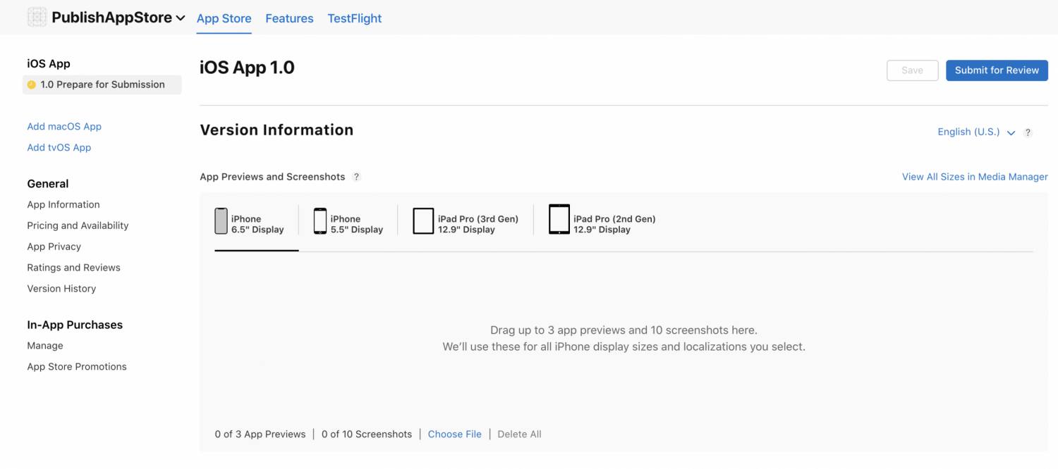 Publishing on the App Store – preparing for submission