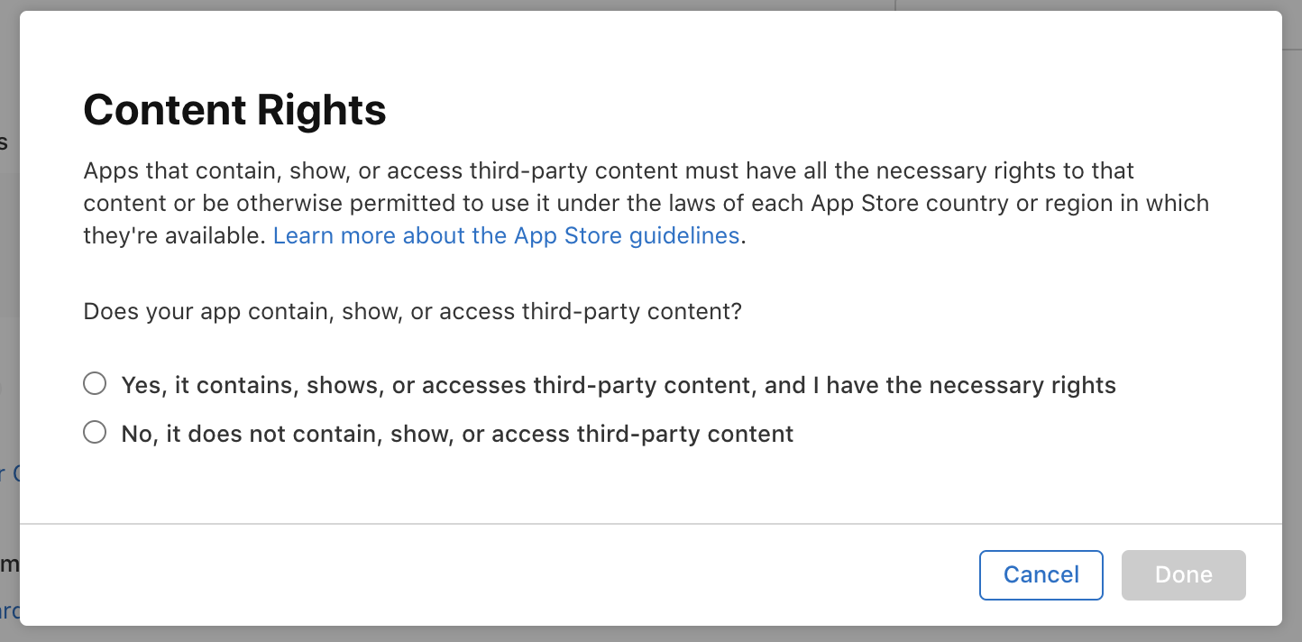 App store – Content Rights Screen