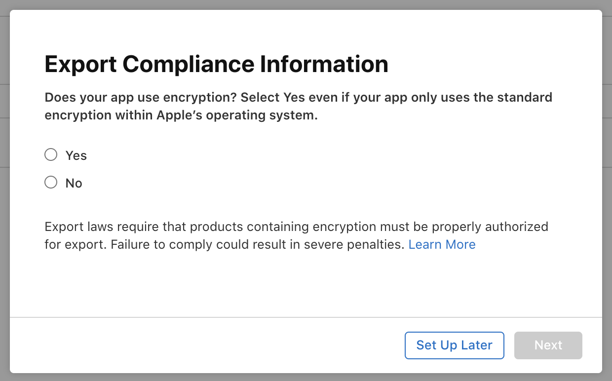 Publishing process on the App Store – Export Compliance Information Screen