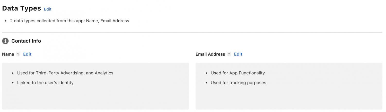 iOS app publishing – App Store data types