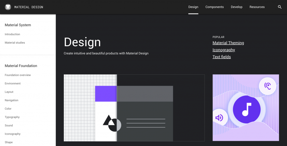 google material design website
