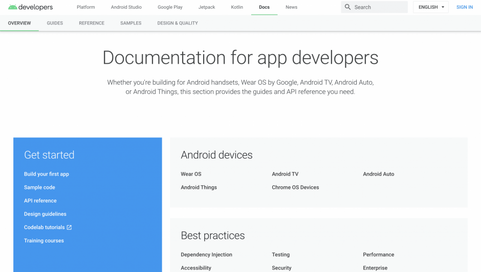 Documentation for app developers