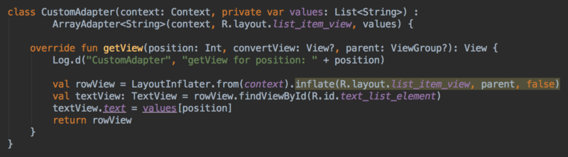 How to Implement ListView - Adding a Log inside the Adapter.getView() method
