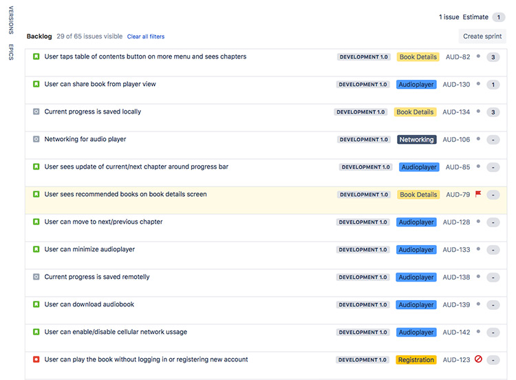 Jira Software Development Backlog View