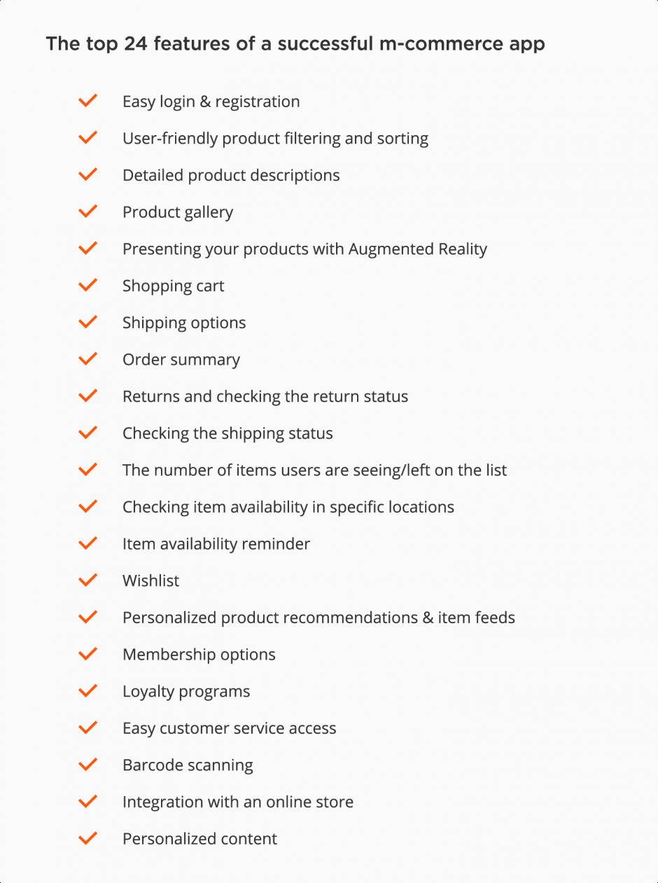 top mobile e-Commerce app features - checklist