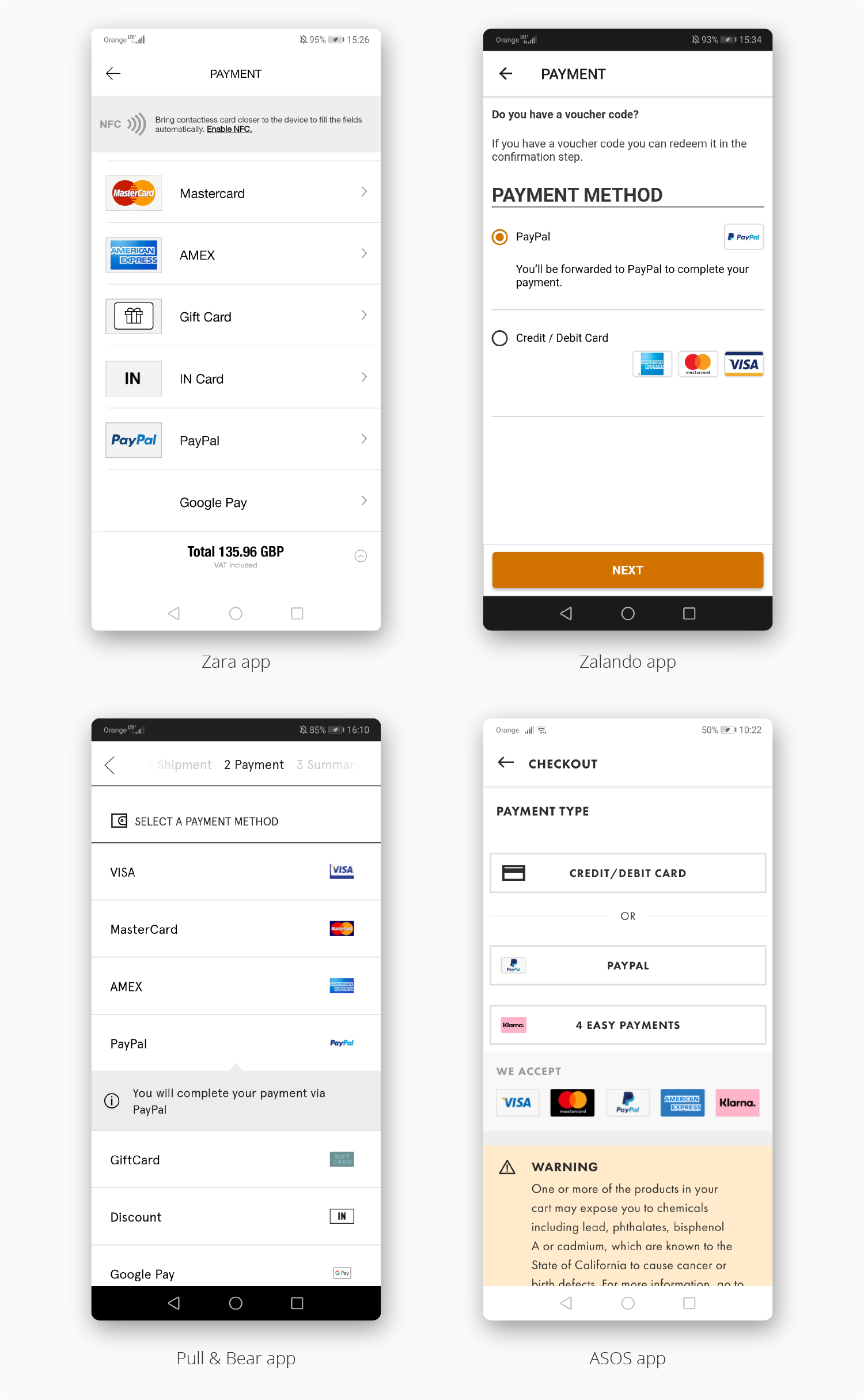 key e-Commerce mobile app features examples