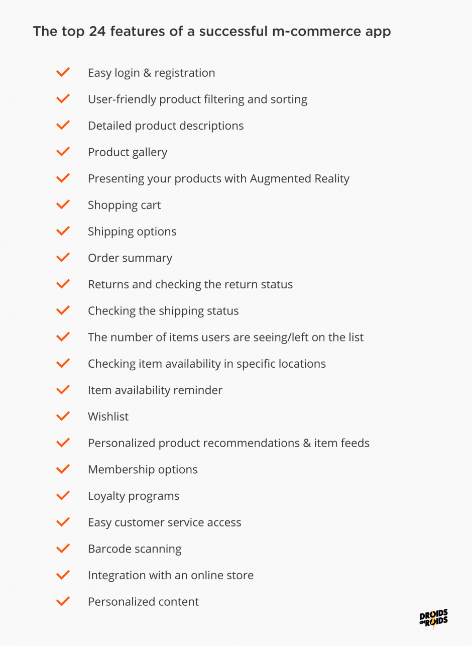 top mobile e-Commerce app features - checklist