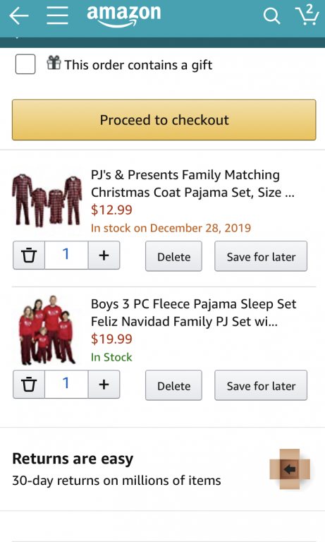 Mobile eCommerce Best Practices - checkout process examples in Amazon app