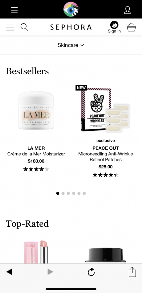 Mobile eCommerce Best Practices - sephora app example