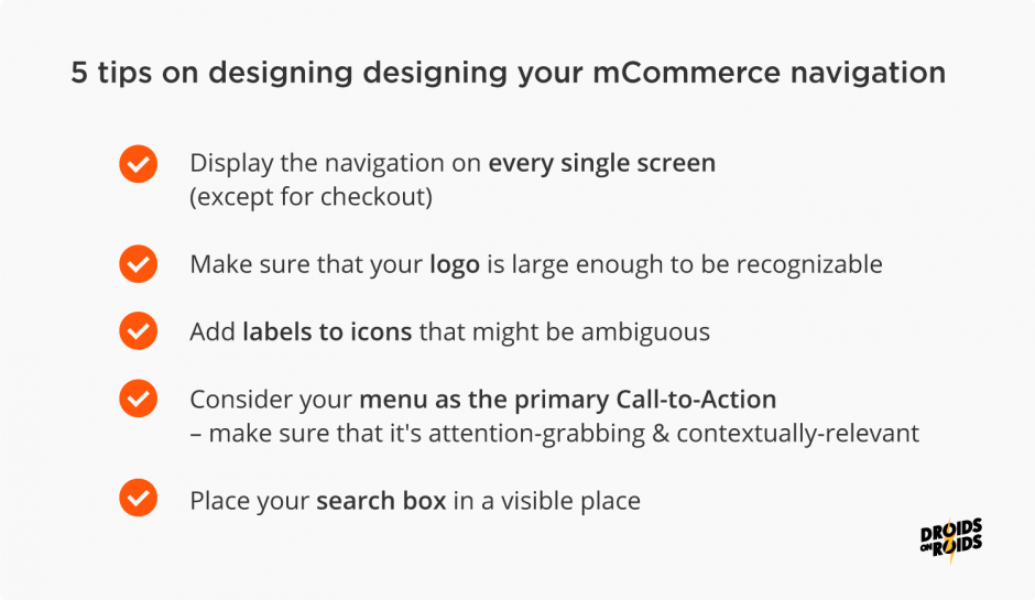 mobile eCommerce best practices – navigation