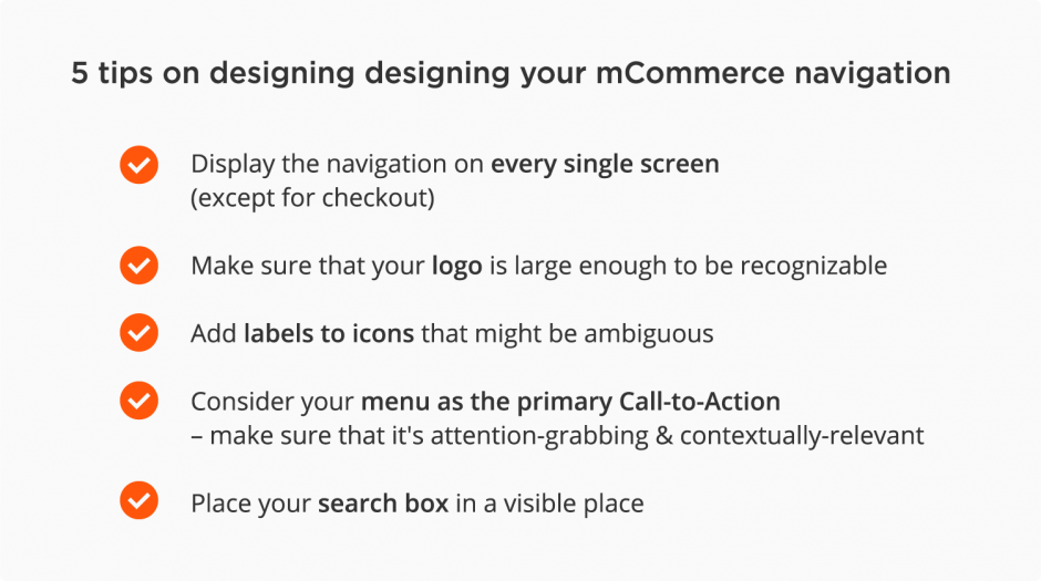 mobile eCommerce best practices – navigation