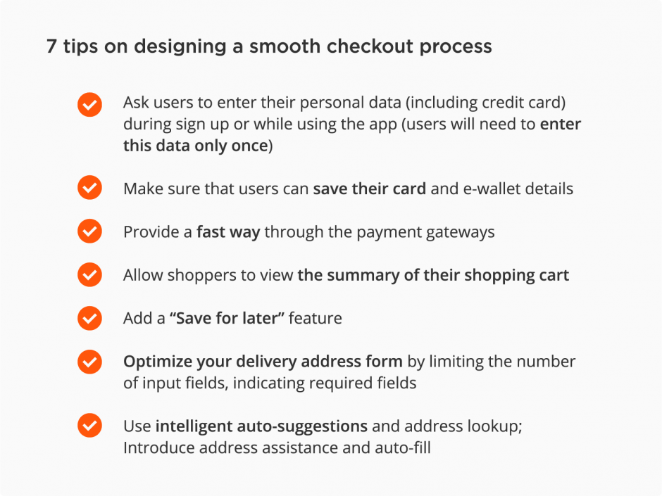 mobile eCommerce best practices – checkout process