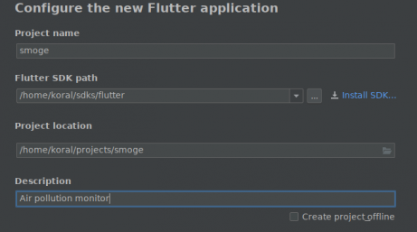 Configure the new Flutter application