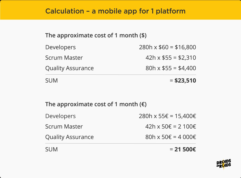 Mobile app development cost – calculations for 1 platform