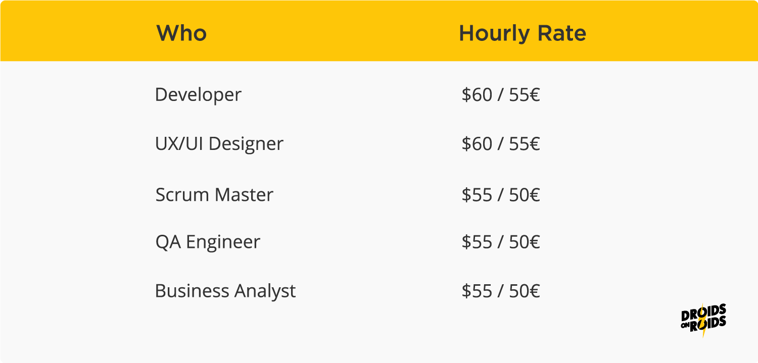 Software outsourcing cost per hour