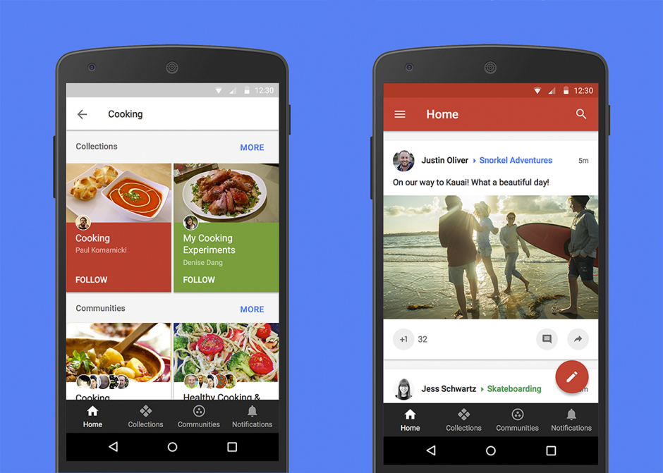 Screens of Google+ w G Suite