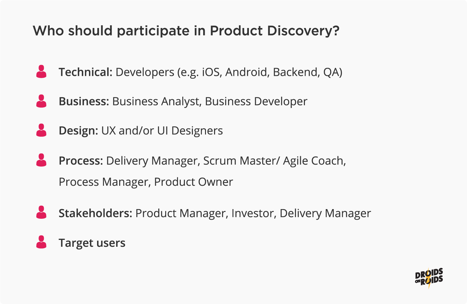 Who should participate in the Product Discover of a mobile app?