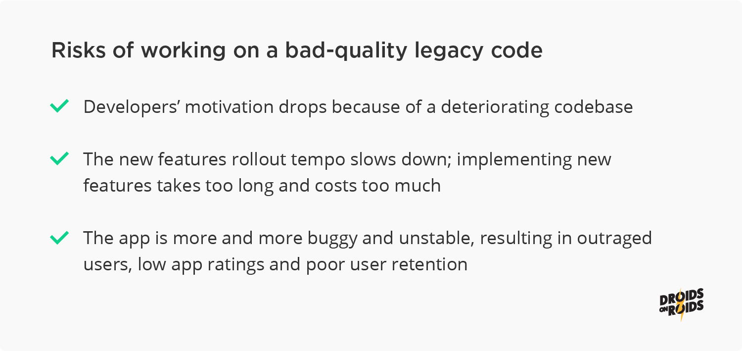 Risks of legacy code