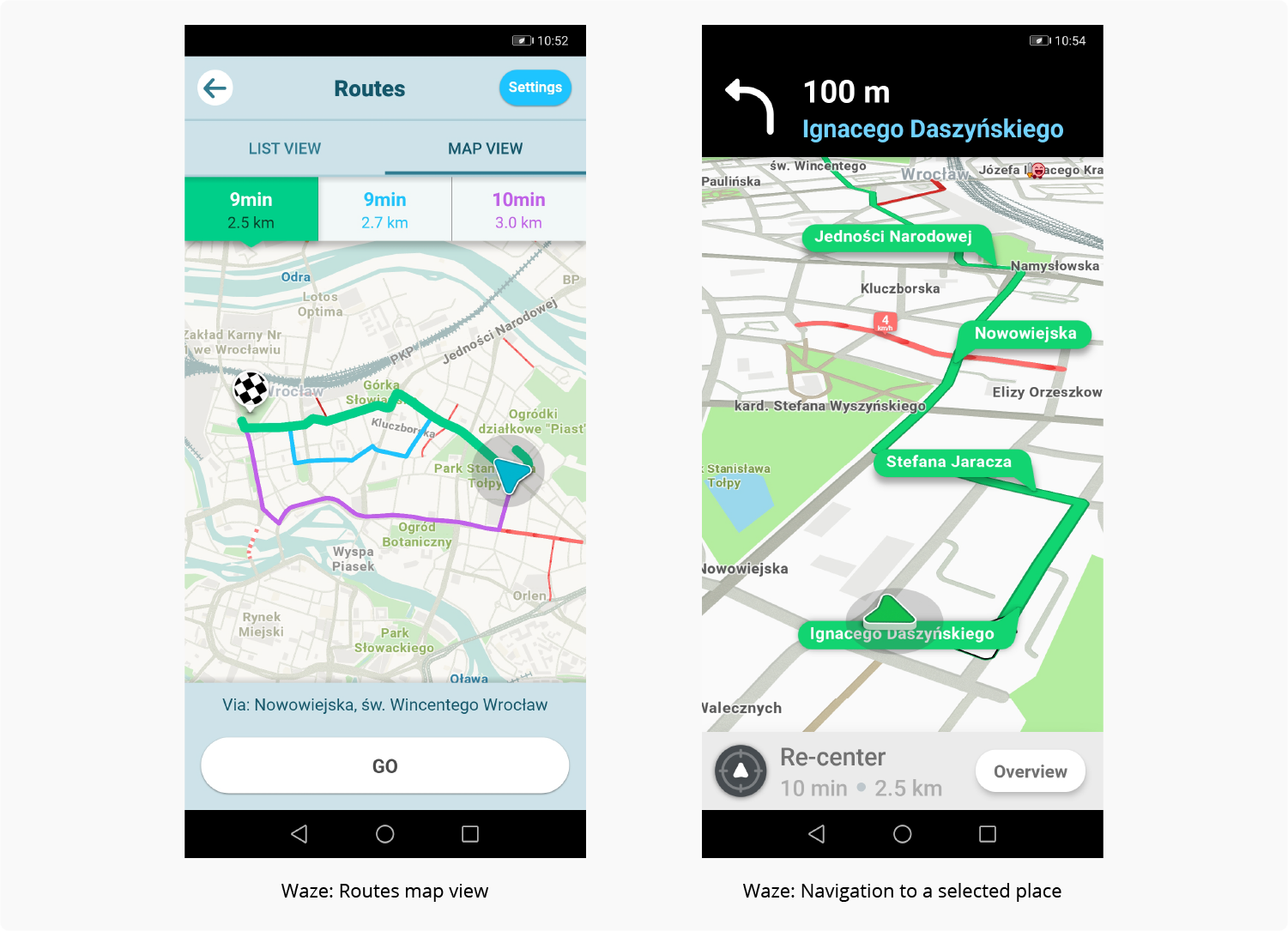 how to develop an app with geolocation – Waze screens exmaple