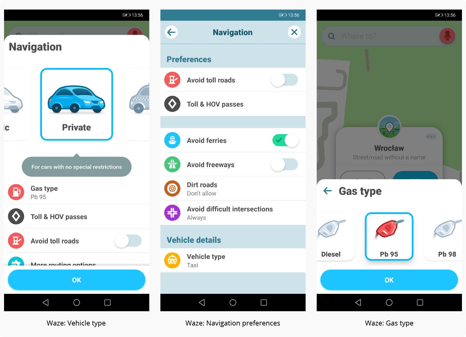 how to develop an app with geolocation – Waze example screens