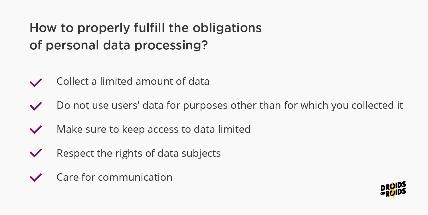 Privacy and data protection in mobile applications - 5 steps